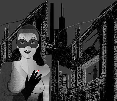 Digital Art - 2405 - Black City Seduction by Irmgard Schoendorf Welch