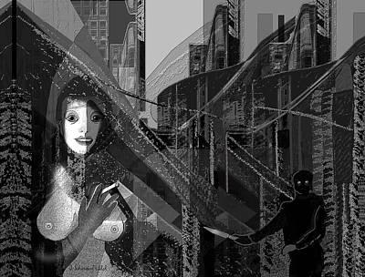 Digital Art - 2406   In Big City Darkness 2017 by Irmgard Schoendorf Welch