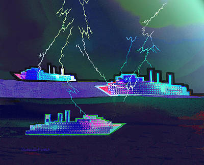 Digital Art - 2410 - Ships In Stormy Weather 2017 by Irmgard Schoendorf Welch