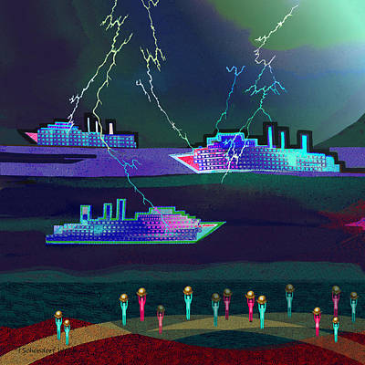 Digital Art - 2411 - Thunderstorm Ships Harbour 2017 by Irmgard Schoendorf Welch