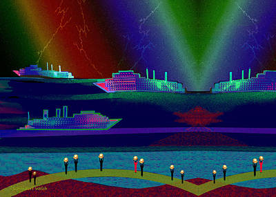 Digital Art - 2413 - There Were Strange Ships In The Harbour   2017 by Irmgard Schoendorf Welch