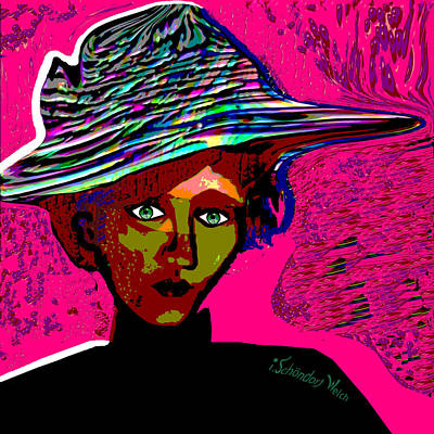 Digital Art - 2421   Lady With Hat  On A Pink Wall 2017 by Irmgard Schoendorf Welch