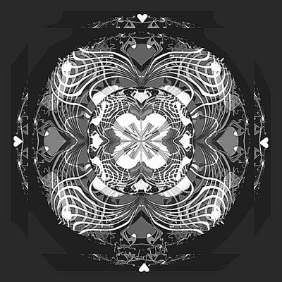 Digital Art - 2448 Mandala Black And White A by Irmgard Schoendorf Welch