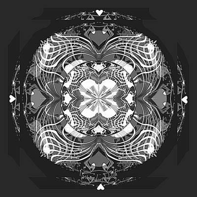 Digital Art - 2448 Mandala Black And White A by Irmgard Schoendorf Welch