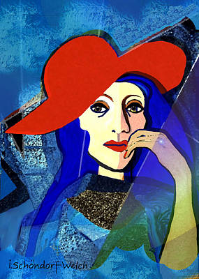 Digital Art - 2493  Pensive Lady A by Irmgard Schoendorf Welch