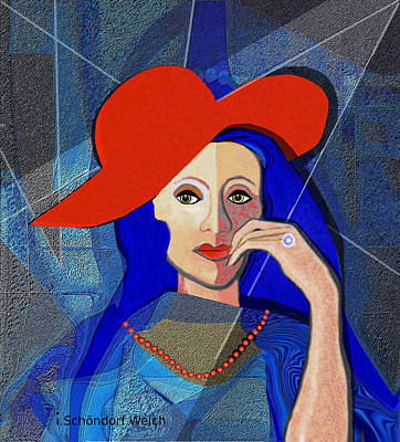 Digital Art - 2494 Lady With A Diamond Ring V by Irmgard Schoendorf Welch