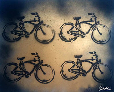 Cycles Painting - 24k Gold Bicycle Signed Robert R by Robert R Splashy Art Abstract Paintings