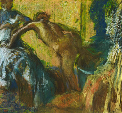 Make-up Painting - After The Bath by Edgar Degas