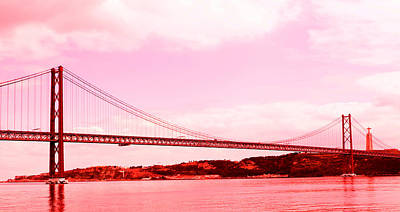 Photograph - 25 De Abril Bridge In Crimson by Lorraine Devon Wilke