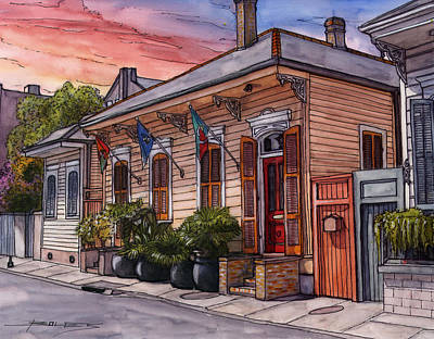 New Orleans Drawing - 25  French Quarter House With 3 Flags by John Boles