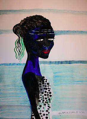 Nuptials Painting - Nuer Bride - South Sudan by Gloria Ssali