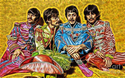 Poster Mixed Media - The Beatles Collection by Marvin Blaine