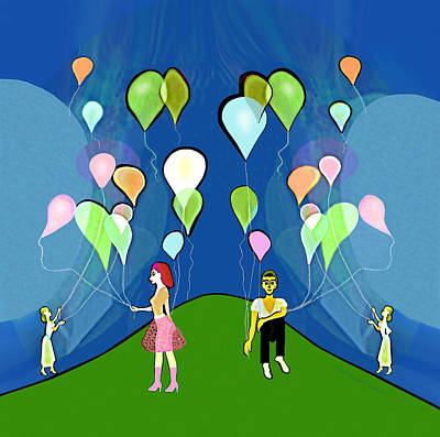 Digital Art - 2509  Beautiful Balloons A by Irmgard Schoendorf Welch