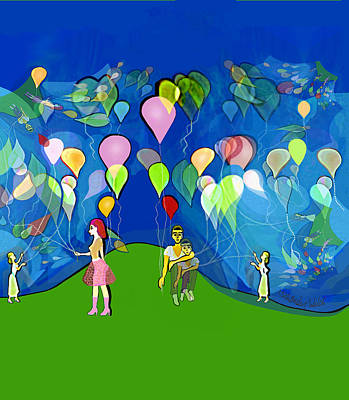 Digital Art - 2510 Balloons Fractal A by Irmgard Schoendorf Welch
