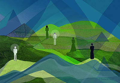 Digital Art - 2517 Human Figures In Landscape A by Irmgard Schoendorf Welch