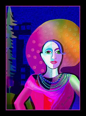 Digital Art - 2520 - Elegant Lady Pink And Purple 2017 by Irmgard Schoendorf Welch