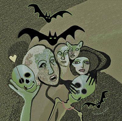 Digital Art - 2521 Gentle Halloween Horror Show by Irmgard Schoendorf Welch