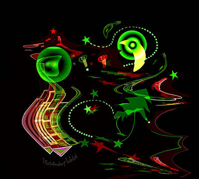Digital Art - 2527 Glow In The Night A by Irmgard Schoendorf Welch