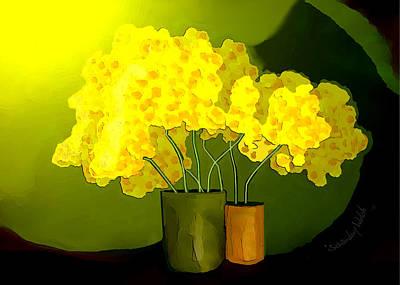 Digital Art - 2533 Yellow Flowers 2017 by Irmgard Schoendorf Welch