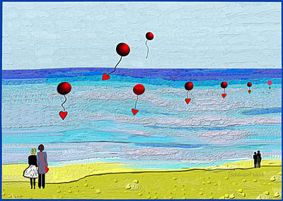 Digital Art - 2534 Walk On The Shore A by Irmgard Schoendorf Welch