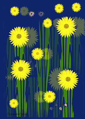 Digital Art - 2535 Yellow Flowers A by Irmgard Schoendorf Welch