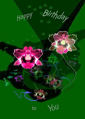 Digital Art - 2536 Simple Flower Birthday Card A by Irmgard Schoendorf Welch