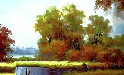 Sunrise Painting - Nature Cool Landscape by Edna Wallen