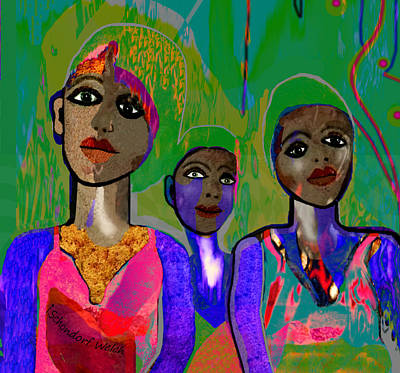 Digital Art - 254   Three Young Girls V by Irmgard Schoendorf Welch