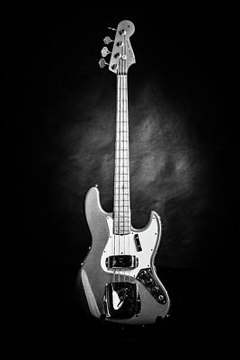 Photograph - 255.1834 Fender 1965 Jazz Bass Black And White by M K Miller