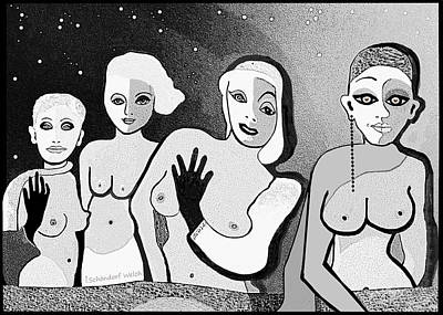 Digital Art - 2554 Four Hot Ladies A by Irmgard Schoendorf Welch