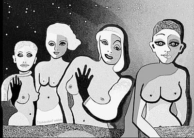 Digital Art - 2554 Four Women A by Irmgard Schoendorf Welch