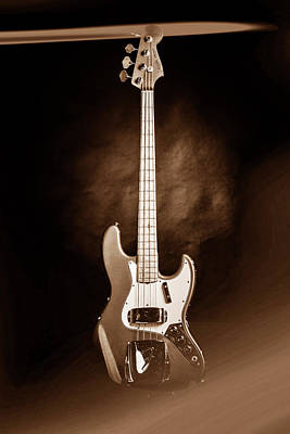 Photograph - 256.1834 Fender 1965 Jazz Bass Black And White by M K Miller