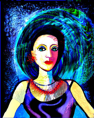 Digital Art - 2577   Beautiful Lady With Red Earrings And Necklace 2017  by Irmgard Schoendorf Welch