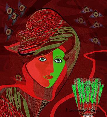 Painting - 258 - Woman With Peppermint Drink by Irmgard Schoendorf Welch