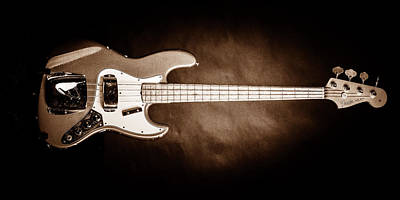 Photograph - 258.1834 Fender 1965 Jazz Bass Black And White by M K Miller