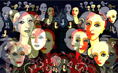 Digital Art - 2582 Too Many Ladies 2017 by Irmgard Schoendorf Welch