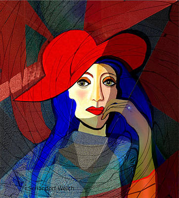 Digital Art - 259 - Lady With Blue  Hair And Red Hat 2017 by Irmgard Schoendorf Welch