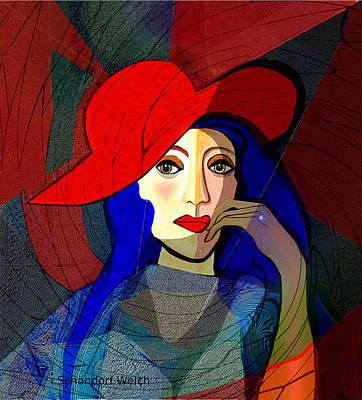 Digital Art - 259 - Lady With Blue  Hair And A Red Hat 2017 by Irmgard Schoendorf Welch