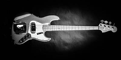 Photograph - 259.1834 Fender 1965 Jazz Bass Black And White by M K Miller