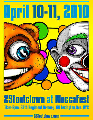 Drawing - 25footclown Moccafest '10 Poster by Christopher Capozzi