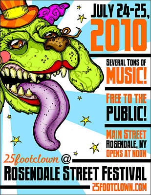 Drawing - 25footclown Streetfest '10 Poster by Christopher Capozzi