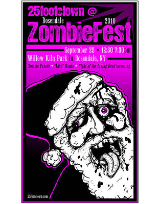 Drawing - 25footclown Zombiefest Poster by Christopher Capozzi