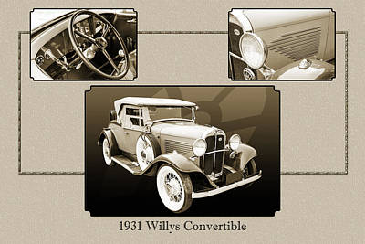 Photograph - 1931 Willys Convertible Car Antique Vintage Automobile Photograp by M K  Miller