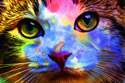 Watercolor Pet Portraits Digital Art - Cats by Elena Kosvincheva