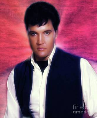 Rock And Roll Royalty-Free and Rights-Managed Images - Elvis Presley, Rock and Roll Legend by Mary Bassett
