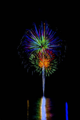 Photograph - Blue Fireworks by Kay Brewer