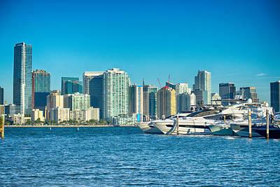 Truck Art - Miami Florida city skyline morning with blue sky by Alex Grichenko