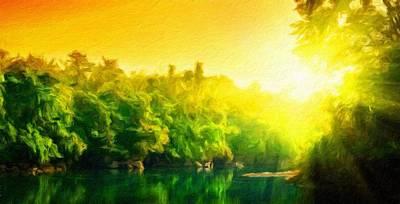 Blue Painting - Nature Landscape Oil by Margaret J Rocha