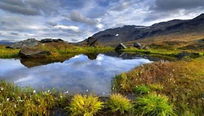 A Summer Evening Landscape Digital Art - Oil Painting Landscape Pictures by Victoria Landscapes