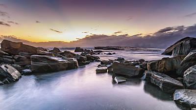 Food And Flowers Still Life - Rocky Daybreak Seascape by Merrillie Redden